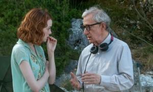 Emma Stone e Woody Allen sul set