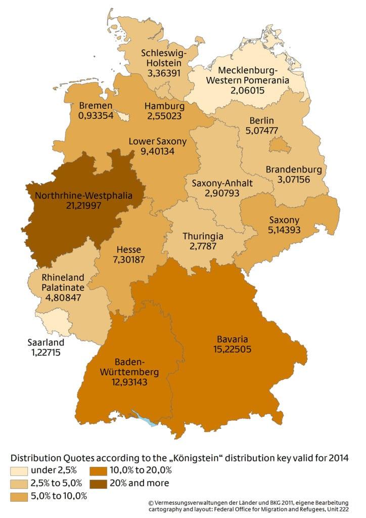 Mappa della distribuzione interna dei richiedenti asilo in Germania nel 2014.